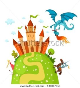 stock-vector-vector-illustration-of-a-knight-dragon-and-princess-138067055